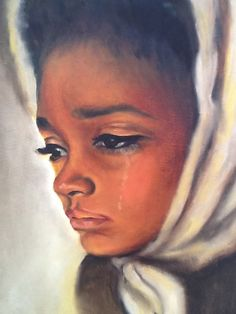 """""""Beaty behind tears"""" Vintage Oil on Canvas African American Woman by musteredgrace. , via Etsy. African American Artwork, African Art, Caricatures, Black Artwork, Colorful Artwork, Black Women Art, Black Girls, Afro Art, Black Artists"""