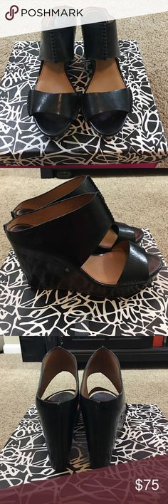 Trask black wedges like new condition size 9.5 Trask black wedges like new condition size 9.5 Trask Shoes Wedges