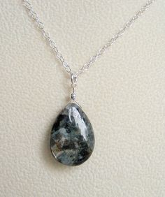 Grey Black Labradorite Teardrop Briolette Jewelry Pendant 24' 925 Sterling Silver Chain Necklace >>> Quickly view this special product, click the image : Handmade Gifts