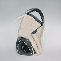 Felted Bag  Nunofelt Bag Wearable art  Handbag  Felt Nunofelt Nuno  white black grey fairy  shoulder bag Fiber Art boho by SwellEcoFashion on Etsy