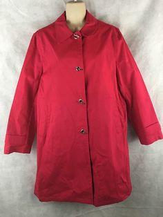 Harve Benard by Bernard Holtzman Red (fushia) Raincoat SZ 12 ~ Toggle Buttons  #HarvBenard #Raincoat