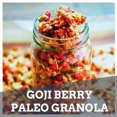 This grain-free Goji Berry Paleo Granola is easy to make and has those crunchy clusters that everyone loves!  #GojiBerries #gojiberry #superfood #HealthyLife #organicfood #yogurt #health #nutrition