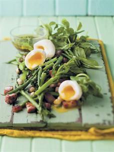Spring green salad. #salad #greenbeans #poachedegg