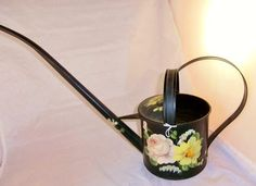 AAFA Antique Primitive Hand Painted Flowers Tole Toleware Garden Watering Can