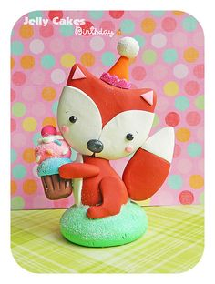birthday party fox topper by Jelly Cakes Designs