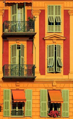 Balconies and Shutters, Nice, France. The colours in Nice are so amazing. I took so many photos of them when I was there