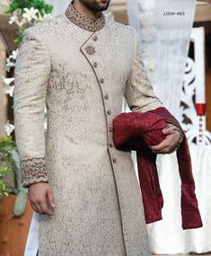 Latest Mens Wedding Sherwani Trends by Top Pakistani Designers Sherwani For Men Wedding, Wedding Dresses Men Indian, Wedding Outfits For Groom, Groom Wedding Dress, Sherwani Groom, Wedding Men, Wedding Suits, Men Wedding Fashion, Leather Jackets