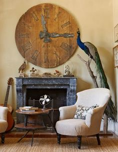 This room is very proportionate besides the clock above the fireplace. It is way to big compared to the fireplace, but that creates a point of interest. Home Living, Living Spaces, Living Rooms, Huge Clock, Cool Clocks, Big Clocks, Design Thinking, Country Decor, Bunt