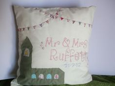 Mr & Mrs  Personalised Handmade Cushion cover by BethanyRaes, £10.00