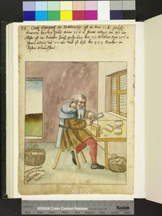 """Amb. 317b.2° Folio 15 verso First version of the jewelers saw? """"the brother sits at his work table and saws comb in one point, he has clamped in a vise. lying on the table, and two baskets on the ground combing ready."""""""