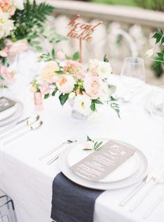 Gorgeous table decor: http://www.stylemepretty.com/2015/01/22/romantic-pastel-copper-inspiration-shoot/   Photography: Kayla Barker - http://www.kaylabarker.com/