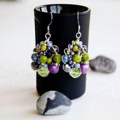 Beaded wirework earrings in green, lilac, black and blue Handmade Jewelry, Handmade Items, Unique Jewelry, Handmade Gifts, Bar Earrings, Statement Earrings, Lapis Lazuli Earrings, Silver Bars, Wire Work