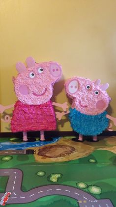 Peppa Pig and George Pig Party Pinata by mythreetreasurechest