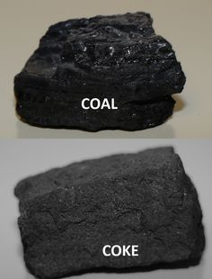 Coal & Coke: A photo showing a lump of high-quality West Virginia metallurgical coal that is converted to coke in special ovens by heating the coal in the absence of oxygen. The coke in the bottom photo is almost pure carbon and will be used in a blast furnace to produce raw iron and eventually steel.
