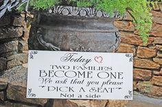 No Seating plan Wedding Sign ...PICK a Seat... by familyattic, $39.95