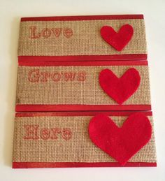 Across the Boulevard: Burlap & Wood Hanging Valentine's Day Sign