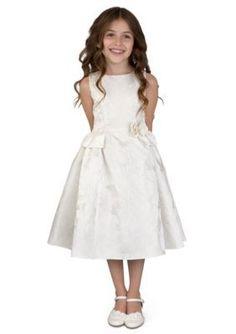 Us Angels Ivory Flower Girl Ballerina Length Sleeveless Brocade Princess Bodice With Peplum- Girls 7-16