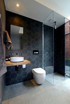 Modern Bathrooms With Wall-Mounted Toilets Browse modern bathroom ideas images to bathroom remodel, bathroom tile ideas, bathroom vanity, bathroom inspiration for your bathrooms ideas and bathroom design Read The Block Bathroom, Laundry In Bathroom, Bathroom Renos, Bathroom Interior, Bathroom Ideas, Bathroom Vanities, Bathroom Remodeling, Remodel Bathroom, Bathroom Designs