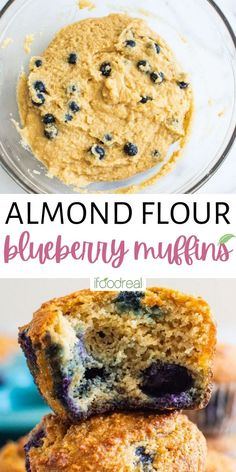 These Almond Flour Blueberry Muffins are packed with juicy blueberries to create tender, fluffy, moist muffins! All you need are 8 healthy, wholesome ingredients to make these naturally gluten-free blueberry muffins- plus they're oil-free, refined sugar-free, and wholesome enough to enjoy for breakfast, brunch, snacking, or dessert! Gluten Free Blueberry Muffins, Almond Flour Muffins, Almond Flour Recipes, Blue Berry Muffins, Healthy Muffin Recipes, Healthy Muffins, Healthy Desserts, Real Food Recipes, Snack Recipes