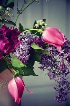 Floral  ~ Pink Tulips, Purple Lilacs, Deep Red Peonies & Queen Ann's Lace