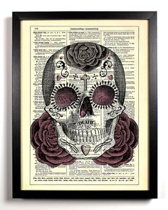 Repurposed Book Upcycled Dictionary Art Vintage Book Print Recycled Vintage Dictionary Page Sugar Skull Day of the Dead