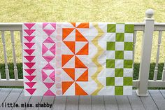 Rainbow Rows - quilt along with simple, bright pattern.