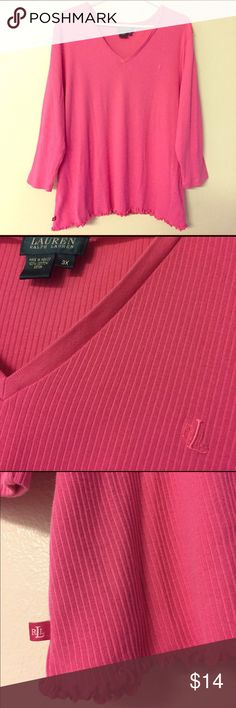 """Ralph Lauren ribbed knit baby tee Bubble gum pink suuuper stretchy v neck baby tee with 3/4 sleeves and lettuce edging. Worn twice at most and in Great condition. Last photo shows a tiny imperfection where the tag barb was placed. Not even noticeable but wanted to mention it. Length 27"""" bust across approx 25"""" stretches way beyond that Lauren Ralph Lauren Tops Tees - Short Sleeve"""