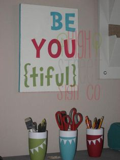BeYOUtiful Little girl room decor - custom colors available by High Street Sign Co