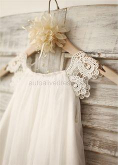 Sheath Ivory Chiffon Lace Flower Girl Dress