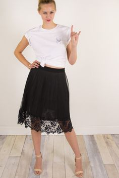 Lace in My Heart Navy Blue Lace Midi Skirt | Plain white shirt ...