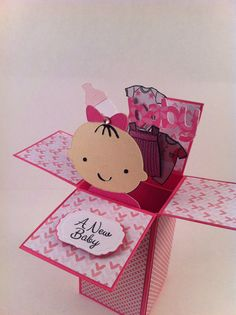 This lovely card in a box is for a new baby girl. The card is the standard A2 size (4.5 x 5.5) when folded. It is fully collapsable. Notice all of