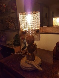 Upcycled pulley lamp