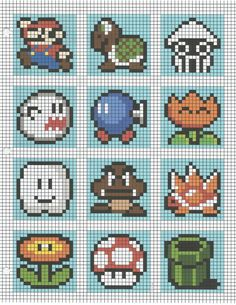 ideas for crochet pattern tapestry Perler beads - Stitching Projects Mario Crochet, Pixel Crochet, Crochet Chart, 8 Bit Crochet, C2c Crochet Blanket, Perler Beads, Perler Bead Mario, Motifs Perler, Perler Patterns