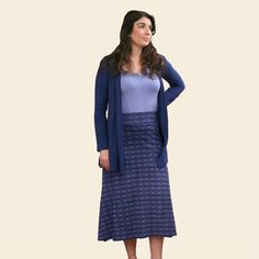 Long Jacket in Midnight, Everyday Tank in Iris, Circle Skirt in Bold Iris Print. All made from Organic Cotton.  Always Organic. Always Fair Trade.