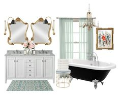 Master Bath by a-romantic-at-oxford on Polyvore featuring polyvore interior interiors interior design home home decor interior decorating Feiss Bestlite Uttermost Christy Holly's House Martha Stewart Home Decorators Collection