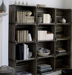 Perhaps you want to collect wooden crates? Then this is a great way to display them. Or, display another collection inside of wooden crates attached to your walls as shelves. Here are a few instances where crates and collections go hand in hand: Crate Bookshelf, Bookshelf Storage, Bookshelf Ideas, Basement Storage, Pallet Shelves, Rustic Bookshelf, Cheap Bookcase, Wood Crate Shelves, Bookshelf Design
