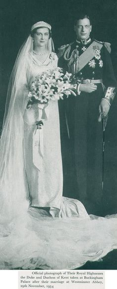Prince George, Duke of Kent marries Princess Marina of Greece and Denmark in 1934
