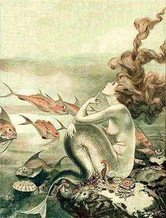 French fantasy mermaid hair vintage deco canvas art (ebay)