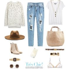 Dislike the ripped jeans and would replace with regular ones. The two different shirt choices are cute options I would definitely love to choose from. Polyvore Outfits, Polyvore Fashion, Cozy Fashion, Autumn Fashion, Outfits For Teens, Cute Outfits, Autumn Street Style, Swagg, Chic