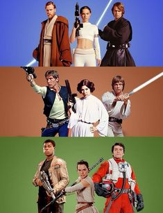The three cool people from each trilogy. :P (Though I think Han still gets a place in the last one.....