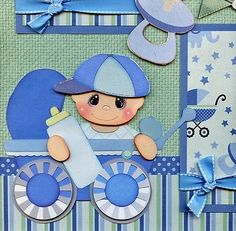 IT'S A BOY ~ BABY 2 Premade Scrapbook Pages paper piecing layout 4 album CHERRY