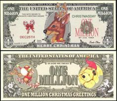 Lot of 2 BILLS INDEPENDENCE DAY MILLION DOLLAR NOVELTY BILL JULY 4TH