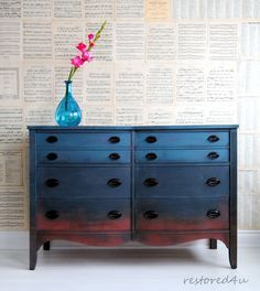Gorgeous dresser with an ombre finish featuring various Chalk Paint® by Annie Sloan colors | Project by Annie Sloan Painter in Residence Ildiko Horvath of Ontario, Canada