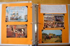 Pilgrims notebook page with postcards