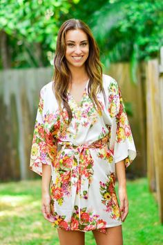 White Floral Bridesmaid Robe - Kadlee Wedding Day Gifts 774ae55a9