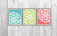 Floral Trio - Set of 3 Art Prints - Aqua, Lime, Coral - Modern Flower Silhouette - Home Dorm Decor