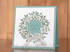handmade thank you card; Circle of Spring wreath ... luv the cut out center with sentiment inside ... Stampin' Up!