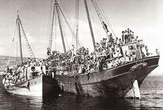 The Holy Land Jewish refugees and survivors of Holocaust. Haifa, Palestine, July 1946.