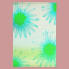 Aqua Flowers Towels by joacreations