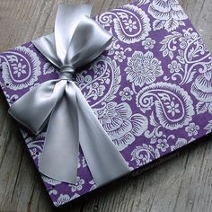 Wedding Guest Book Silver and Purple Paisley by EmersonBindery, $40.00